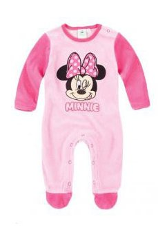 Salopeta bebe, Minnie Mouse, velur, roz