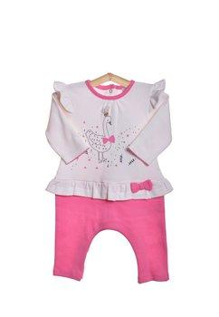 Salopeta bebe, roz cu alb
