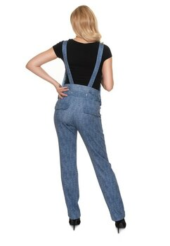 Salopeta jeans cu buzunare, albastra