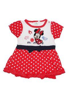 Salopeta maneca scurta bebe, Minnie mouse, rosie cu buline