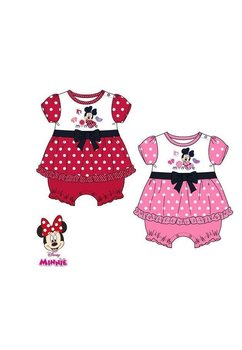 Salopeta maneca scurta bebe, Minnie mouse, roz cu buline