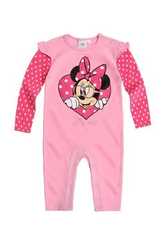 Salopeta Minnie Mouse, roz cu buline albe