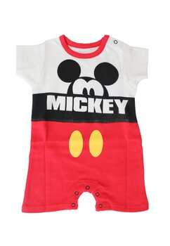 Salopeta vara, Mickey Mouse, alb cu rosu