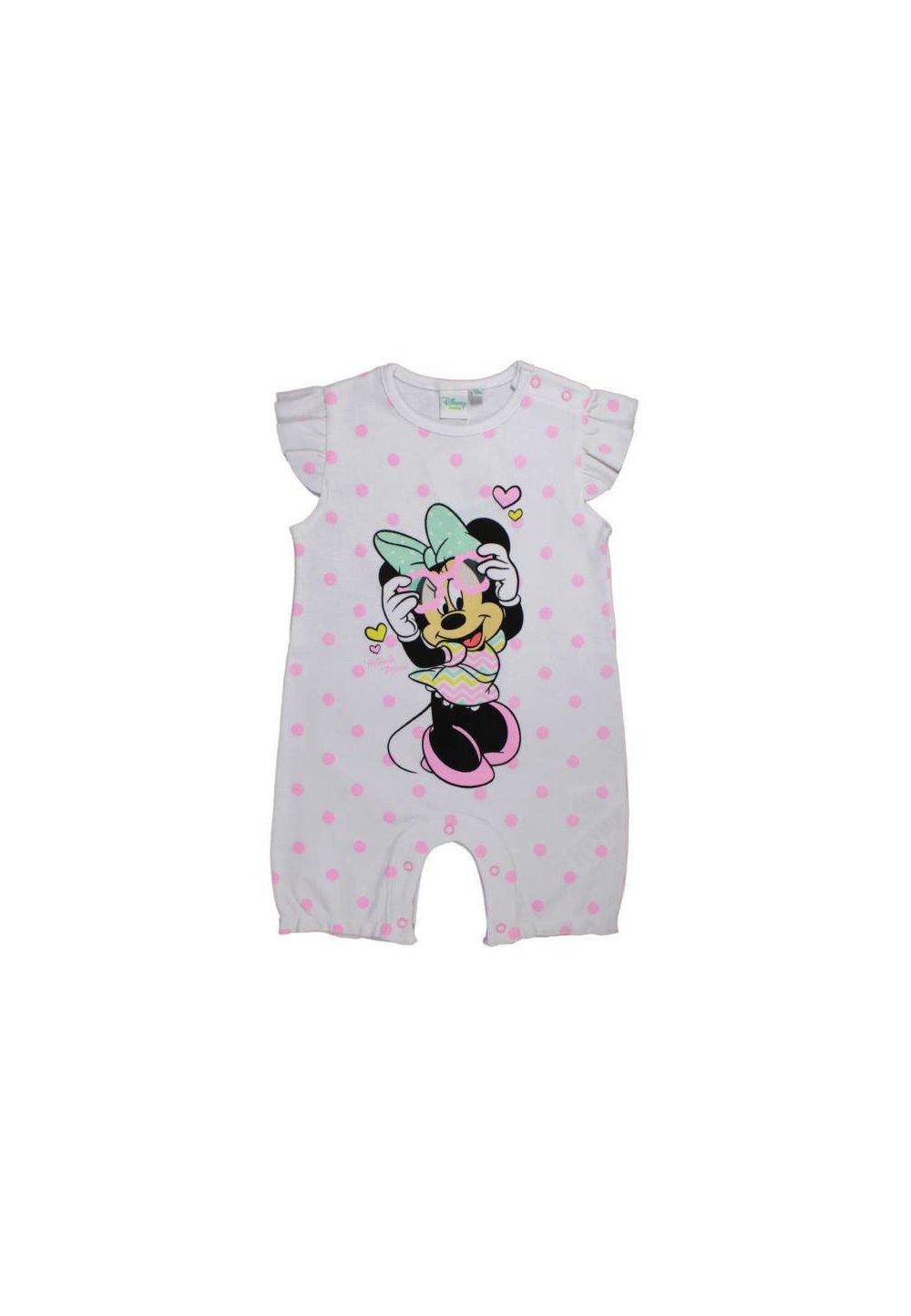 Salopeta vara, Minnie Mouse, alba cu buline roz imagine