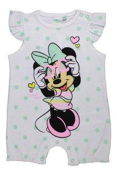 Salopeta vara, Minnie Mouse, alba cu buline verzi
