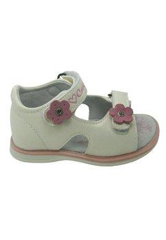 Sandale, alb perlat, floricica