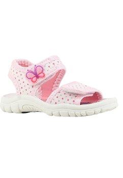 Sandale albe cu buline si fluturas roz