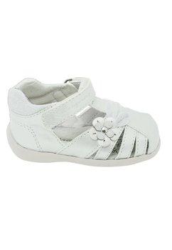 Sandale albe, cu floricica