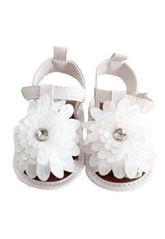Sandale bebe, albe cu floricica