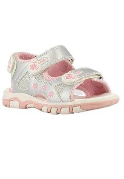 Sandale cu floricele, roz si argintiu