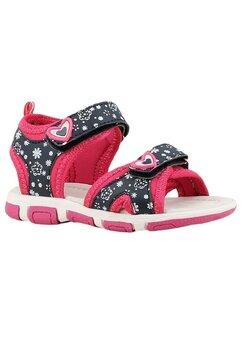 Sandale cu floricele si inimioara, bluemarin cu roz