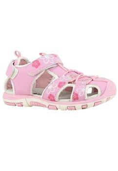 Sandale cu siret si floricele, roz cu alb