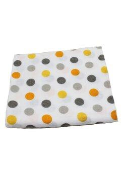 Scutec bumbac, alb cu buline galbene si gri, 80x70 cm