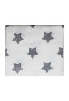 Scutec bumbac, alb cu stelute mari gri, 80x70 cm
