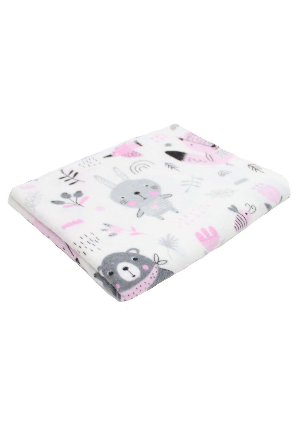 Scutec bumbac, Ursulet cu esarfa, roz, 70x80cm imagine