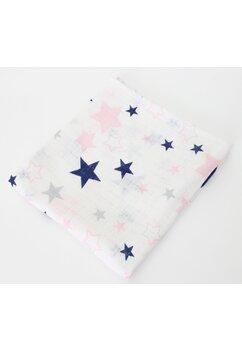 Scutec muselina, alb cu stelute roz, 75 x 70 cm