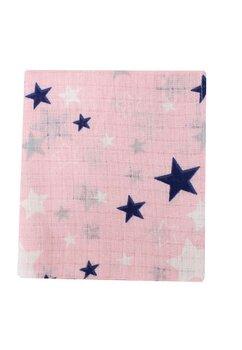 Scutec muselina, roz cu stelute, 75 x 70 cm