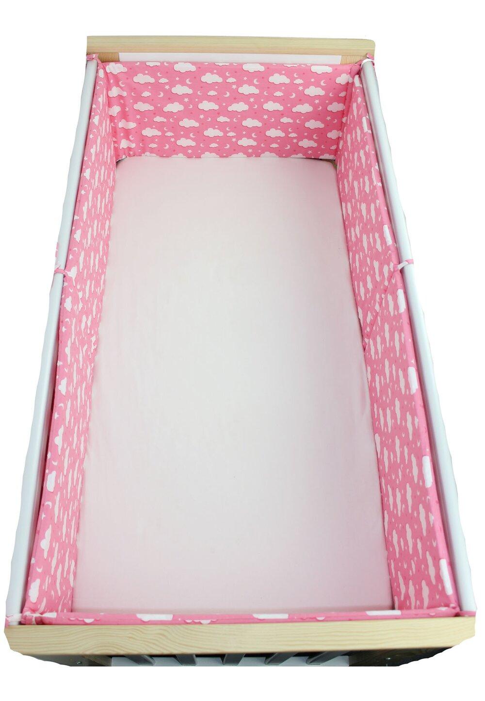 Set 2 aparatori, norisori si stelute, roz, 120x60cm imagine