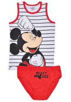 Set 2 piese, Mickey, alb cu rosu