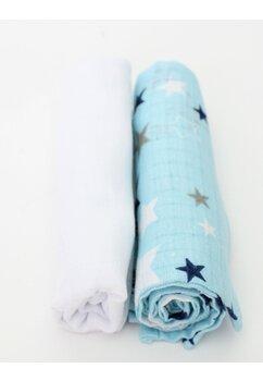 Set 2 scutece, muselina, albastru cu stelute, 75 x 70 cm