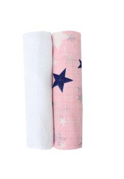 Set 2 scutece muselina, roz cu stelute bluemarin, 75 x 70 cm