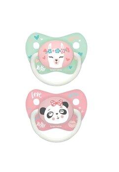 Set 2 suzete Canpol, Love XoXo, panda roz, 0-6 luni