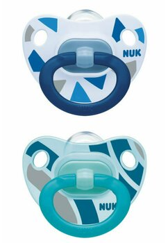 Set 2 suzete Nuk, Happy days, cu tetina din silicon, 18-36 luni, albastru