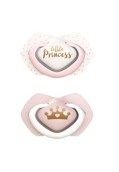 Set 2 suzete, tetina din silicon, Little Princes, roz, 6-18 luni