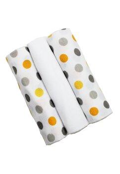 Set 3 scutece, bumbac, alb cu buline galbene si gri, 80x70 cm