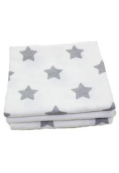Set 3 scutece, bumbac alb cu stelute mari gri, 80x70 cm