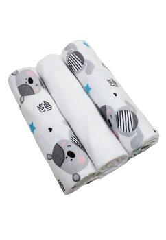 Set 3 scutece, Cute teddy, alb cu gri, 80x70 cm