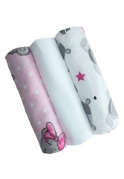 Set 3 scutece, flanel, ursuleti roz cu gri