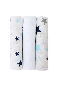 Set 3 scutece, muselina, alb cu stelute albastre, 75 x 70 cm