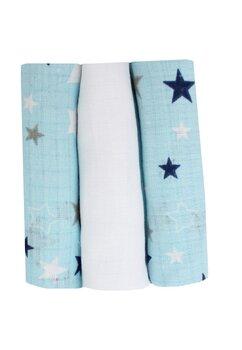 Set 3 scutece, muselina, albastru cu stelute, 75 x 70 cm