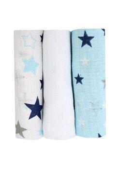Set 3 scutece, muselina, albastru si alb cu stelute, 75 x 70 cm