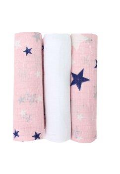 Set 3 scutece, muselina, roz cu stelute bluemarin, 75 x 70 cm