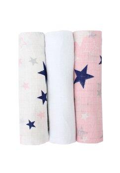 Set 3 scutece, muselina, roz si alb cu stelute bluemarin, 75 x 70 cm