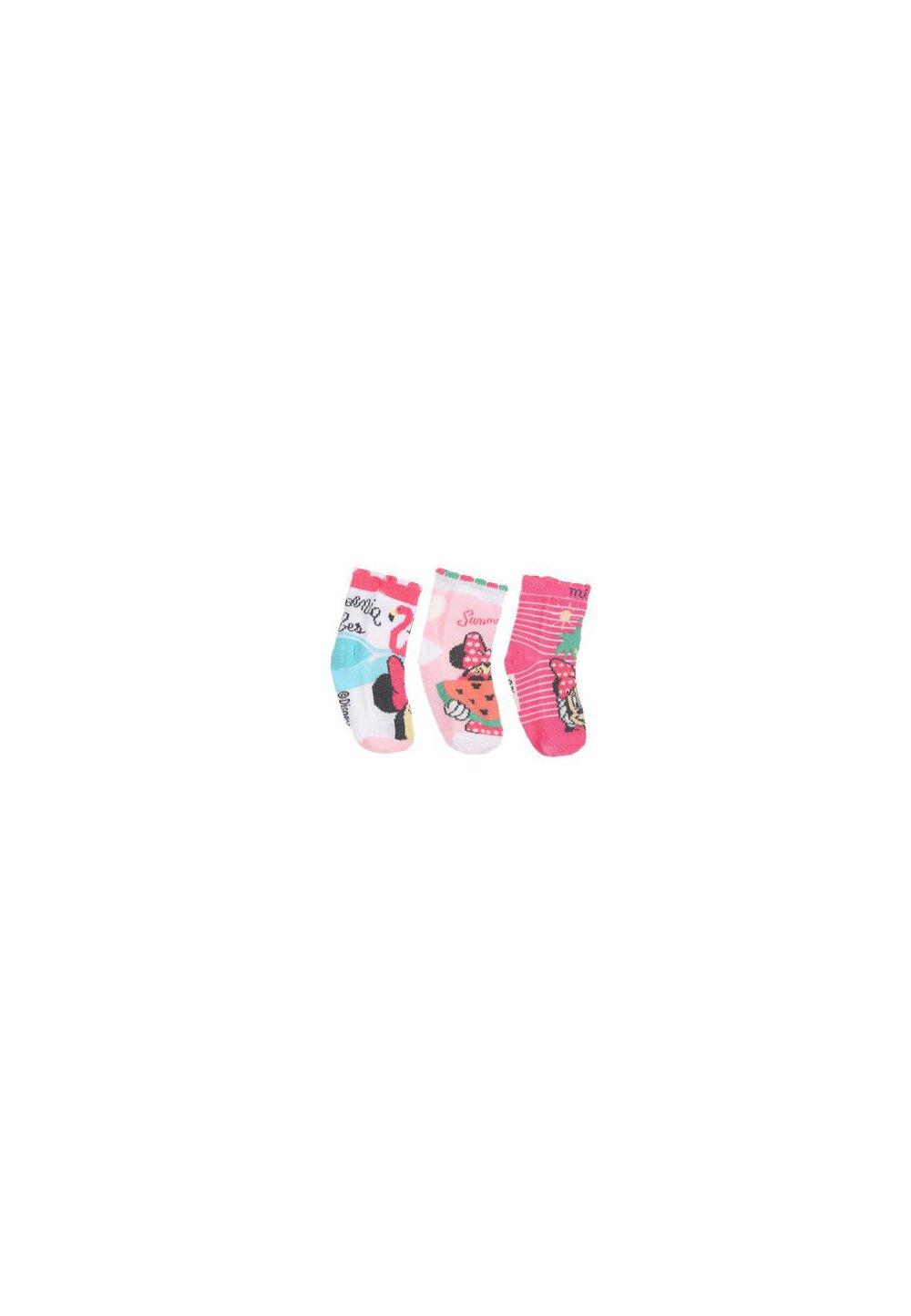 Set 3 sosete bebe, Minnie, Summer love, roz imagine
