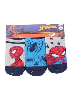 Set 3 sosete, Spider Man, albastru cu gri