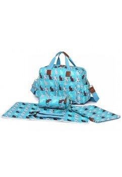 Set 4 piese, geanta pentru mamici, Cat, turcoaz