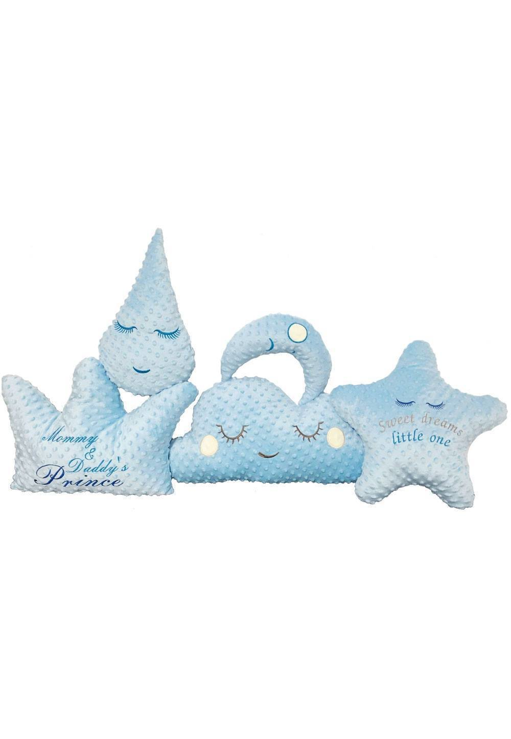 Set 5 pernute Minky, albastre imagine
