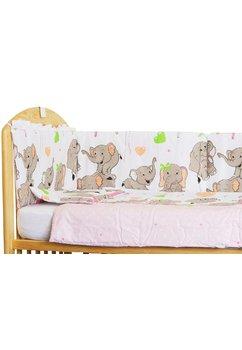 Set aparatoare patut, Elefant roz sir, 120 x 60 cm