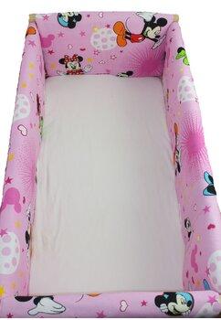 Set aparatoare patut, Maxi,Minnie si Mickey, roz cu stelute, 120x 60 cm