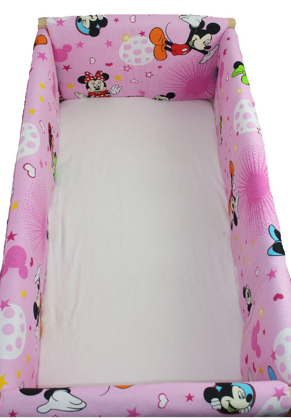 Set aparatoare patut, Maxi,Minnie si Mickey, roz cu stelute, 120x 60 cm imagine