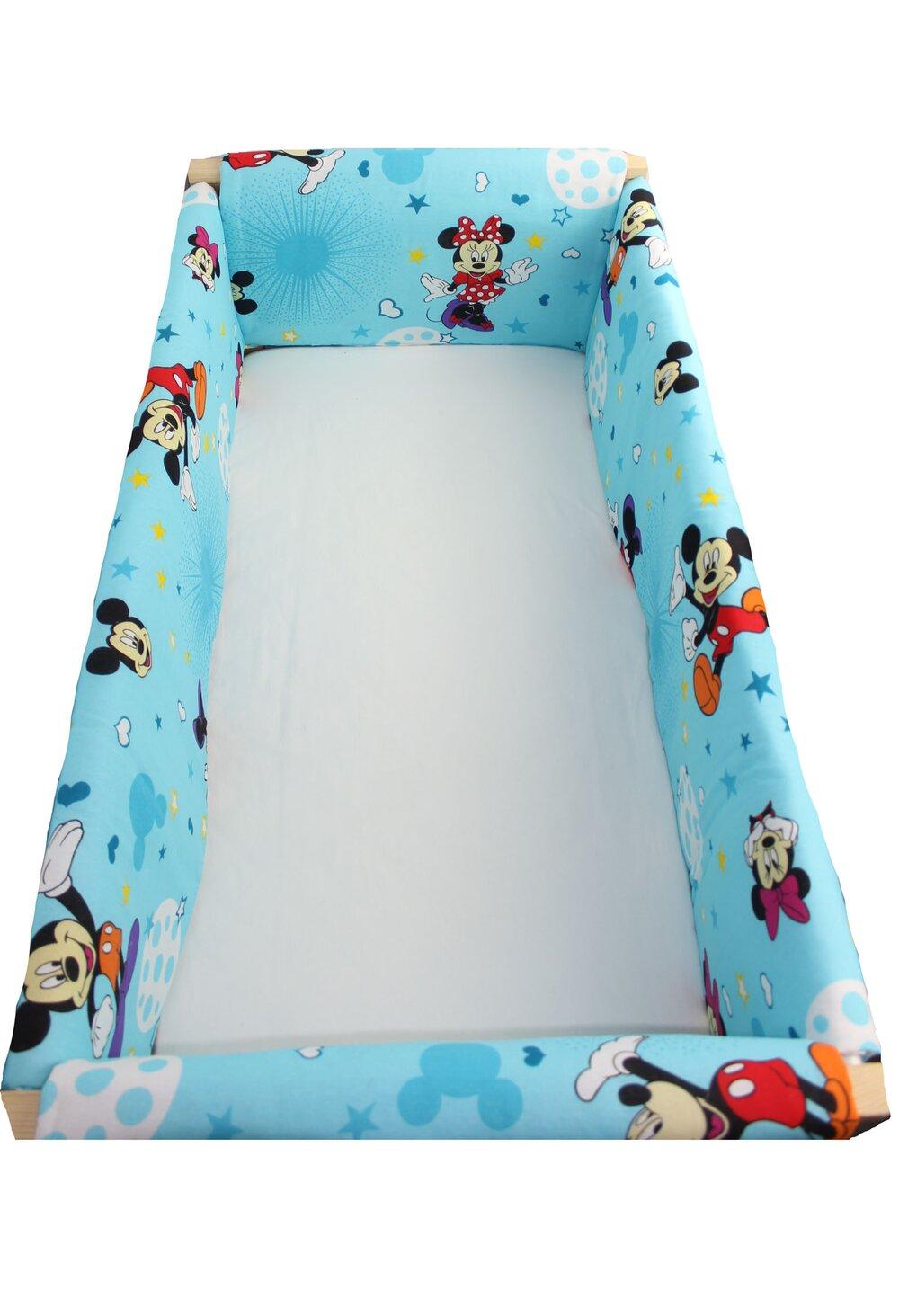 Set aparatori patut, Maxi, Minnie si Mickey, albastru cu stelute, 120x60cm imagine