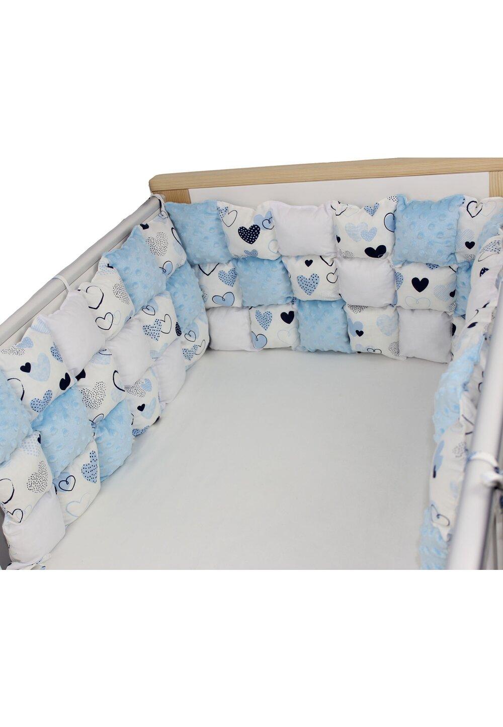 Set aparatori pufoase, inimioare, albastre, 3 x 60 cm imagine