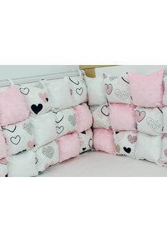 Set aparatori pufoase, roz cu inimioare bluemarin, 3 x 60 cm