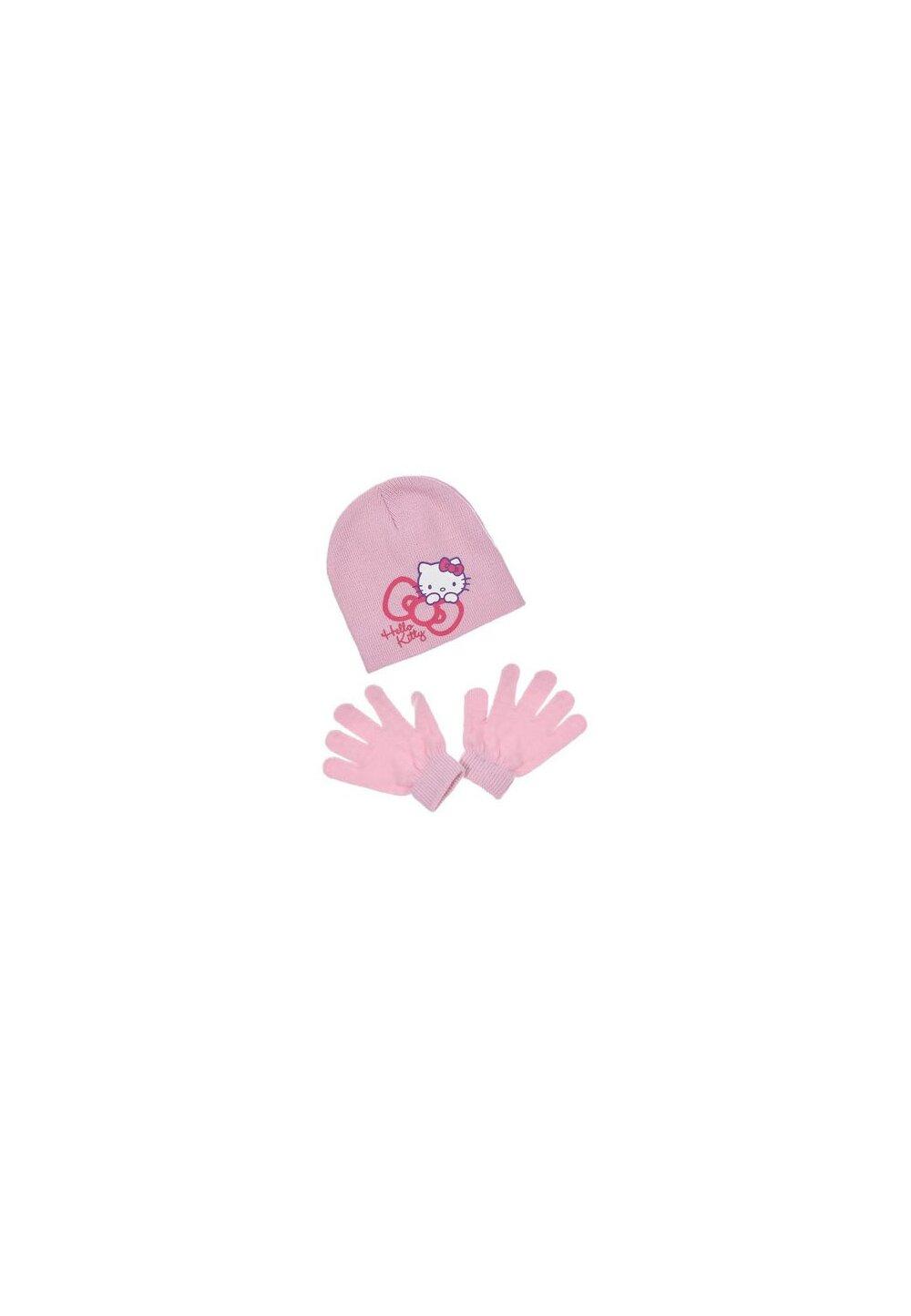 Set caciula si manusi, Hello Kitty, roz imagine