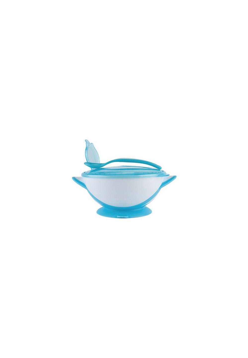 Set castronas cu ventuza si lingurita, albastru cu alb imagine