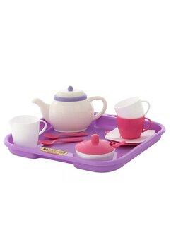 Set ceai, 13 piese, alb cu roz